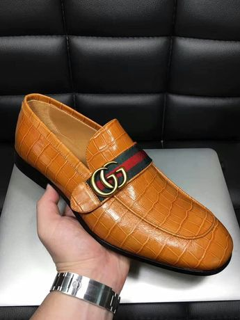 Replica high quality leather GG brand men loafers date formal shoes