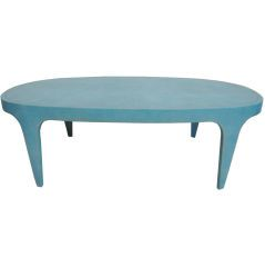 Embossed Leather Cocktail Table: A stand out table in a gorgeous shade of blue. I'm crazy about the texture.