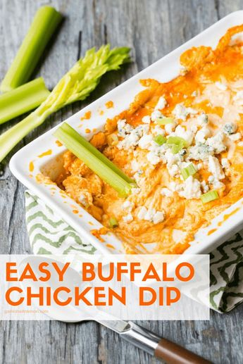 Calling all buffalo saucelovers! This dip is for you. This Easy Buffalo Chicken Dip is one of my go-to party foods and disappears every time I make it. #buffalo #dips #appetizers #tailgating