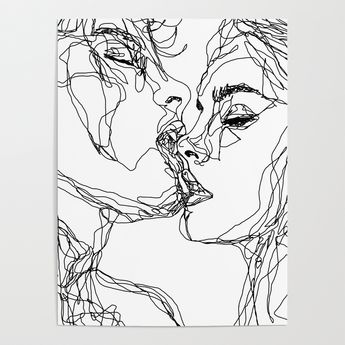 Kiss More Often (B & W) Poster by sophieschultz