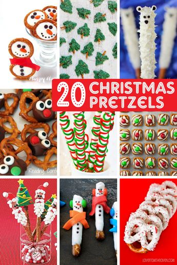 CHRISTMAS PRETZELS -- a roundup of 20 holiday pretzel treats