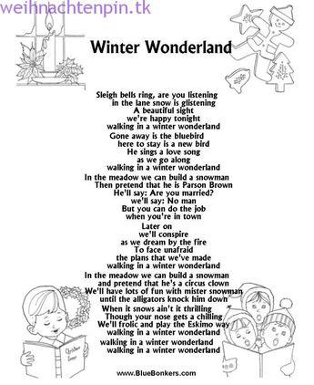 Druckbares Weihnachtslied Songtextblatt: Winter