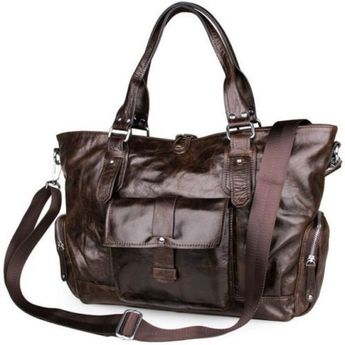 688504d5c571 Men s Leather Handbag Tote Travel Shoulder Bags E