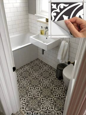 Floor Tile Sticker for Kitchen, bath, Waterproof & Removable Vinyl Decal: W006Black