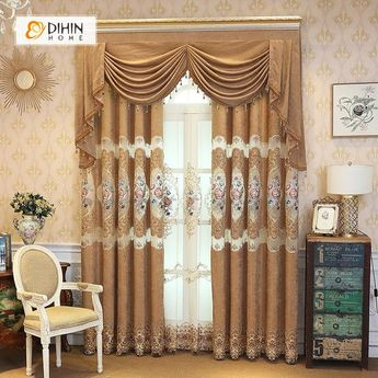 DIHIN HOME Pink Flowers Embroidered Brown Valance,Blackout Curtains Grommet Window Curtain for Living Room ,52x84-inch,1 Panel