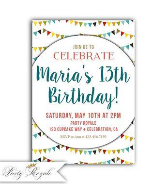 Colorful 13th Birthday Invitations Birthay Invite Girl