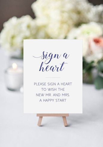 Navy Blue Sign A Heart Wedding Drop Box Sign - Wedding Guest Book Sign - Printable Wedding Sign - Alejandra