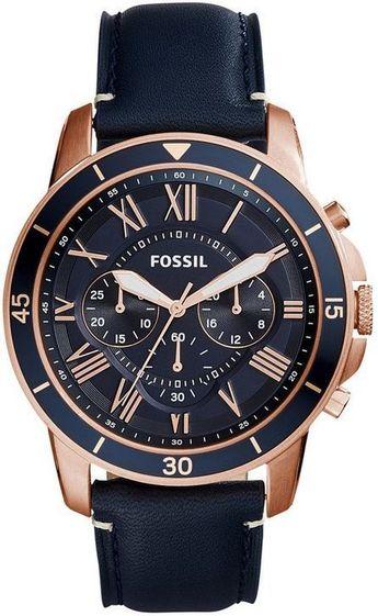 Mens Fossil Grant Sport Blue Strap Chronograph Watch FS5237