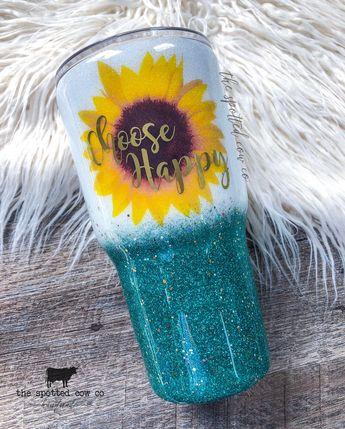 7016e7b48ee Teal Sunflower Glitter Tumbler | Custom Tumbler | Yeti Tumbler | Glitter  Yeti | Glitter Cups
