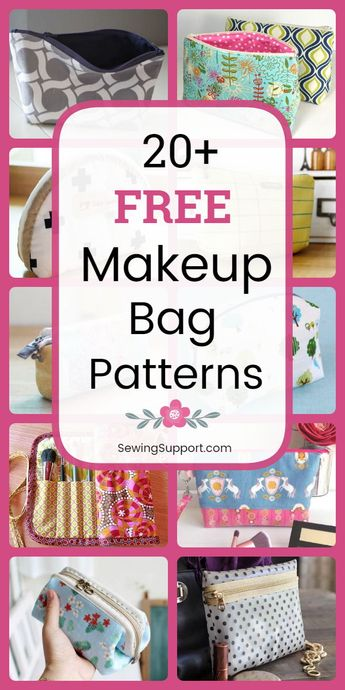 20+ Free Makeup & Cosmetic Bag sewing patterns and diy projects and tutorials. Small and large cases and pouches, brush holders, drawstring, boxy, square, round, zippered, and lined styles to sew. Great for travel. Instructions for how to make a makeup bag. #sewingsupport #bagpatterns #sewingpatterns #sewingprojects #tutorial #pattern