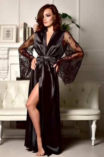 1bc349ce6aaca Black lace bridal robe Sexy robe Kimono robe Long robe Long bridal robe  Maxi robe Black