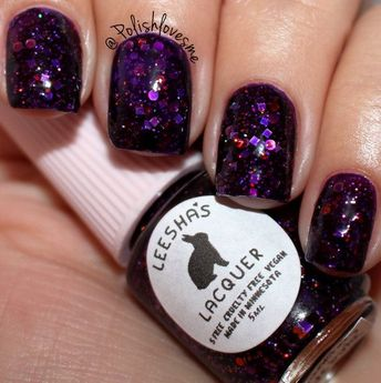 ♥ Planetary Nebula is a purple jelly glitter nail polish with Purple, red and