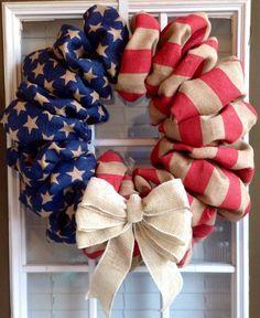 Patriotic Wreath - Burlap Wreath - 4th of July Wreath - Summer Wreath - Spring Wreath - Door Wreath - American Flag