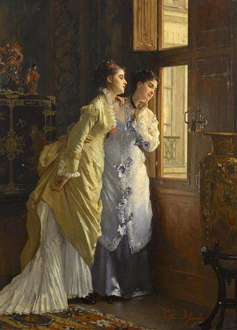 Gustave de Jonghe (Belgian, 1829-1893)  Awaiting the Suitor