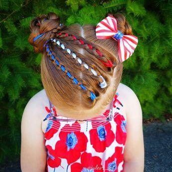 Fourth of July themed hair. Red, white, blue, hair. Four strand braid. Four strand ribbon braid. Buns. Braid combos. Cute kid hairstyles. Holiday hair. Braids for kids. Ginger. Redhead hairstyles.
