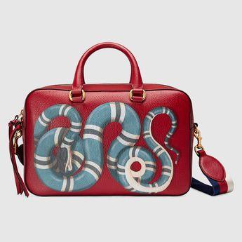 Sac à main à imprimé serpent en cuir de chez Gucci // www.leasyluxe.com #gucci #snake #leasyluxe