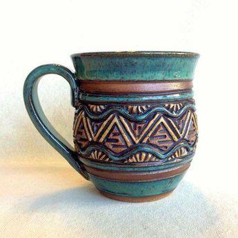 large earthenware mugs | Large Pottery Mug - Coffee Tea - Handmade & Carved - Stoneware - Blue ...