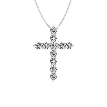 573c7a0a6b589 The perfect dd DIAMOND DELIGHT IGI Certified 14K Gold Cross Diamond Pendant  Necklace (1