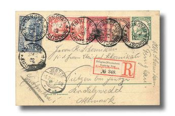 "German Colonies Kiautschou Postal stationery - Kiautschou, 1902 (30 Dec.) Kiautschou 5pf. postal stationery card registered to Jeetze, Germany (5.2.03) bearing Kiautschou 50pf. to 2m., cancelled by ""Tsingtau/Kiautschou/a"" c.d.s., fine high value franking, albeit philatelic. Estimate 2,000 - 2,500"