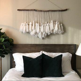 Boho Wall Hanging, wall hanging, indigo hanging, yarn Garland, birch branch, white wall hanging, yar
