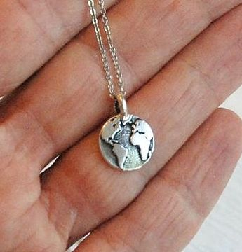 Silver Globe Necklace, small world map necklace, world necklace, earth charm, travel jewelry, tiny globe pendant, dainty globe charm