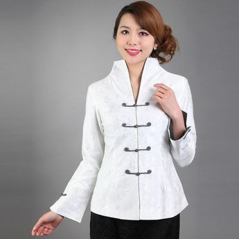 08f03ad3d Mandarin Sleeve V Neck Fancy Cotton Chinese Jacket with Strap Buttons
