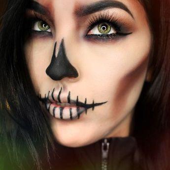 Scary Halloween Makeup Tutorial Step by Step - Skeleton