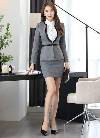 Formal carrera profesional trabajo con trajes chaquetas y falda delgada de negocios de moda de trabajo mujer Abrigos conjuntos de