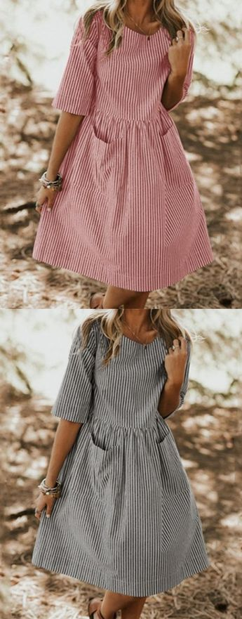 $24.99 USD Daily A-Line Crew Neck Half Sleeve Stripe Dresses With Pockets