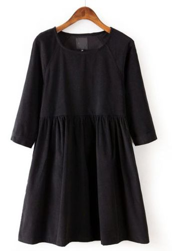 Black Long Sleeve Corduroy Pleated Dress pictures