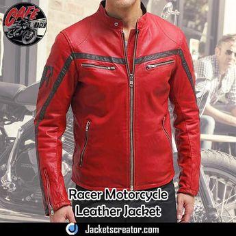 Columbus Red Leather Biker Jacket for Men