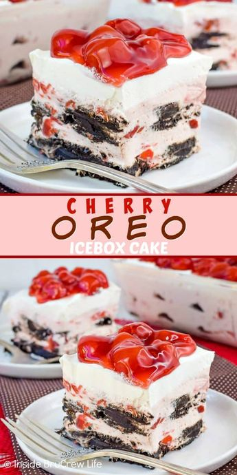 Cherry Oreo Icebox Cake - no bake cherry cheesecake and dark chocolate cookies make the layers in this icebox cake so pretty and delicious. Easy recipe to make when it is too hot to bake this summer. #iceboxcake #cherry #oreo #darkchocolate #nobake