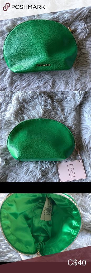 """Ted Baker Makeup Bag Synthetic exterior, textile lining 7.25"""" H x 9.5"""" W x 3.5""""  Faux Leather Zip Pouch Ted Baker London Bags Cosmetic Bags & Cases"""