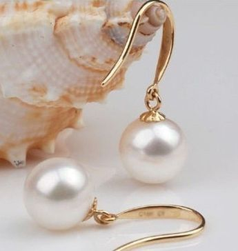 Details about ATTRACTIVE 9-10MM AKOYA WHITE PEARL EARRING 14K YELLOW GOLD HOOK