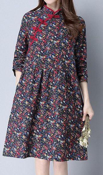 72e06ede4e23 Details about Women loose fit plate buckle ethnic flower dress pocket tunic  fashion trendy