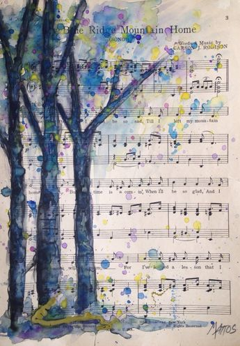 Items similar to SOLD Watercolor painting on vintage upcycled sheet music Tree painting Nature original art Recycled paper on Etsy