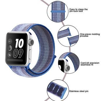 Stripe Colorful Nylon Loop Breathable Watchband for Apple Watch iWatch 4 Sports & Edition Sport Bracelet