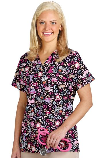 074230cf2d1 Cherokee Scrubs Raise The Woof V-Neck Print Top