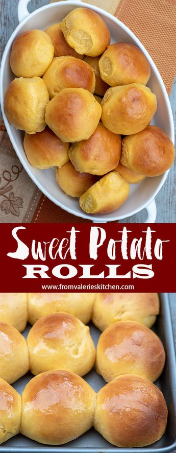 These perfectly tender, golden-hued Sweet Potato Rolls will add a special touch to your holiday menu. #dinnerrolls #yeastrolls #sweetpotato #thanksgiving #thanksgivingrecipes #bread #breadrecipes