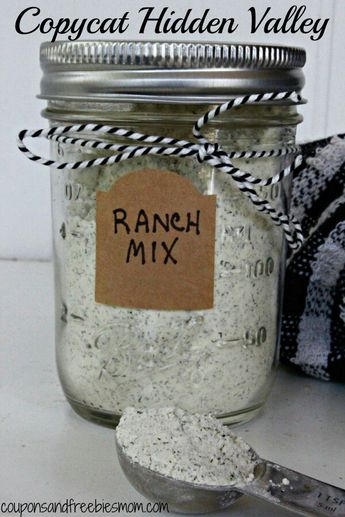 COPYCAT HIDDEN VALLEY RANCH MIX   INGREDIENTS 1/2 Cup Dry Buttermilk 1 Tbsp Dried Parsley Flakes 1 Tsp Dried Minced Onions 1 Tsp Dill Weed 1 Tsp Garlic Salt 1 Tsp Onion Powder 1 Tsp MSG (Accent!) – optional 1/2 Tsp Salt 1/2 Tsp Sugar 1/4 Tsp Black Pepper   DIRECTIONS Blend in food processor or blender until well mixed. Store in dry airtight container   When recipe calls for 1 packet of mix, use 2 Tbsp of this mixture   This is a great way to save money and always have your favorite salad dre...