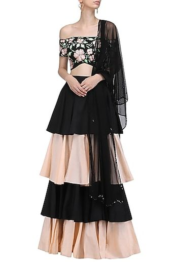 2027923b08ee59 Ank by Amrit Kaur Featuring a black off shoulder blouse in silk and net  base with