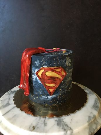 Man of steel Superman cake all vegan, gluten free, soy free, nut free, naturally dyed