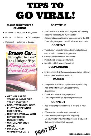 Blog Tips to Go Viral! Easy ways to ensure that your content is easy to read and share. The Rising Damsel