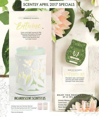 SCENTSY APRIL 2017 WARMER AND SCENT OF THE MONTH ~ ENTWINE SCENTSY WARMER & IVY & WATER LILY FRAGRANCE