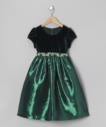 Look at this Jayne Copeland Green Velvet Taffeta Dress - Toddler & Girls on #zulily today!