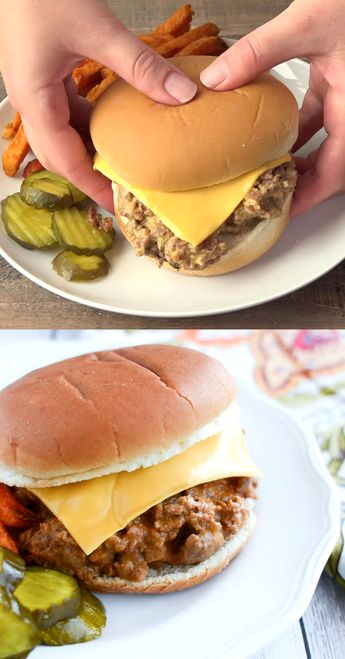 Crockpot Cheeseburgers – sloppy joe style cheeseburgers cooked in the slow cooker. Serve it on buns with all your favorite burger fixins for an easy weeknight dinner the whole family will love!