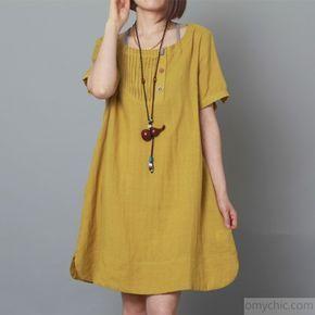 cfc674bbf900 Yellow linen dress summer shift dress plus size sundress-Will be available  soon