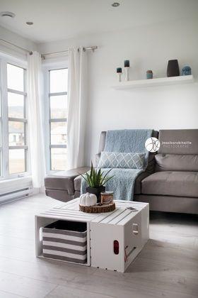 Table avec caisses de bois, DIY, Table, diy table, table box #salon
