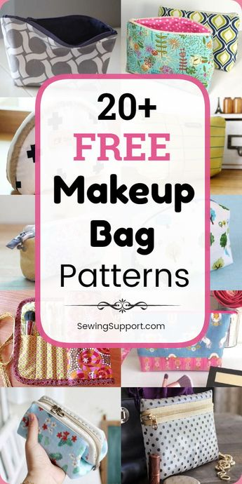 Bag Patterns to sew. Over 20 free makeup & cosmetic bag patterns, tutorials, and diy projects. Sew small and large cases and pouches, brush holders, drawstring, boxy, square, round, zippered, and lined styles. Great for travel. Instructions for how to make a makeup bag. #SewingSupport #Bag #Pattern #Diy #Makeup #Cosmetic #Sewing
