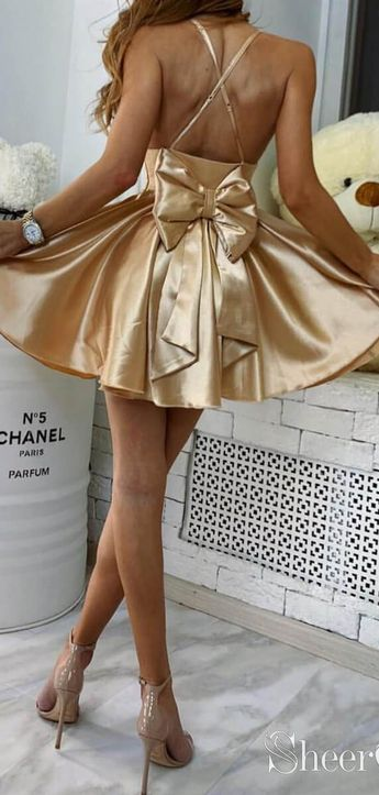 Chic Sexy Party Dress V Neck Mini Homecoming Dresses with Cute Bow ARD2007
